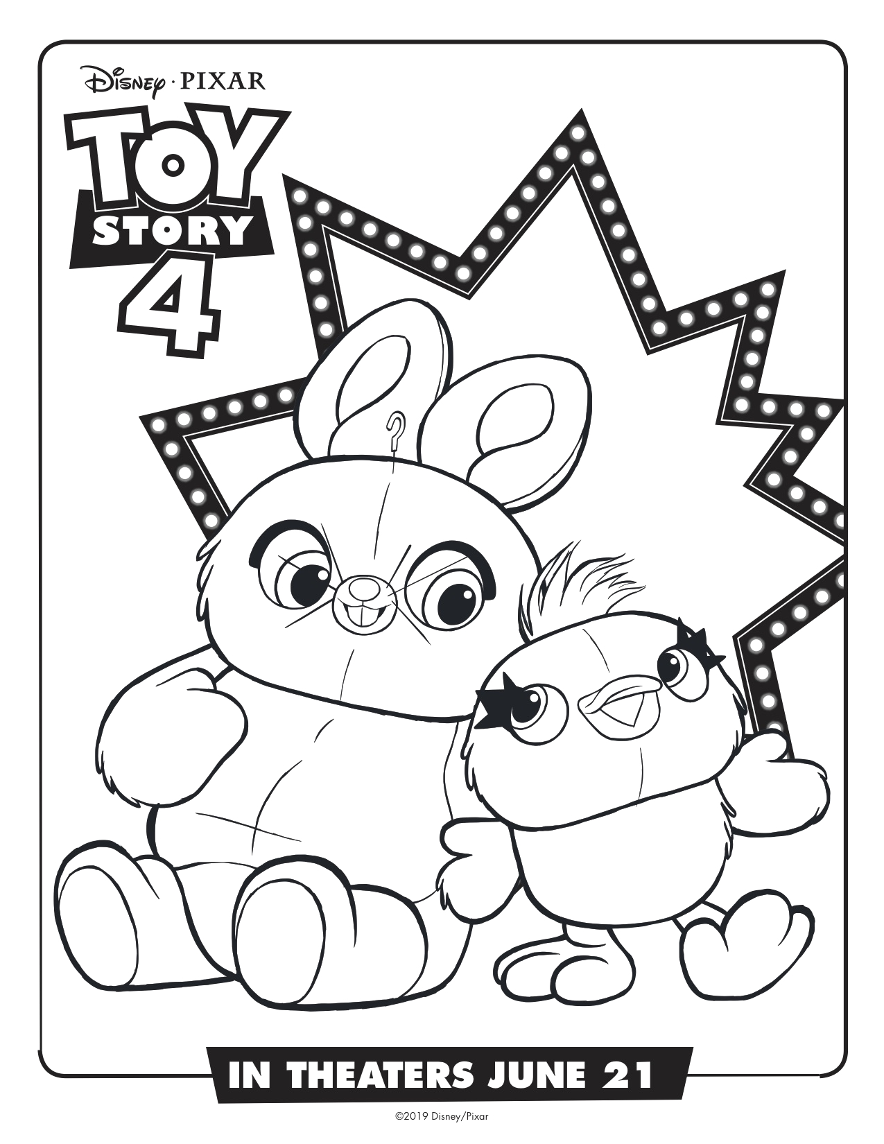 Ducky and Bunny toy Story 4 Coloring Pages toy Story 4 Ducky and Bunny Printable Coloring Page Simply