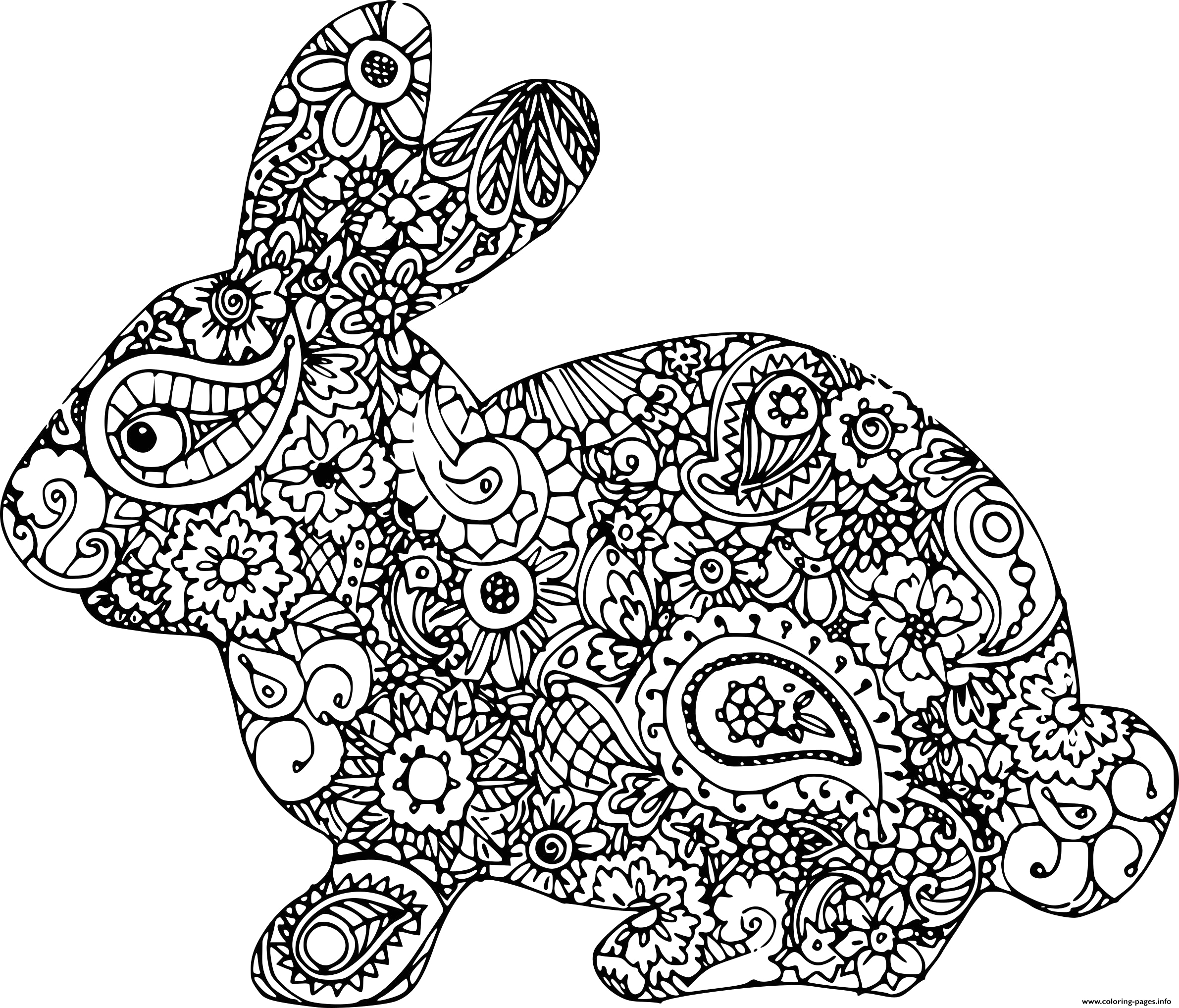 easter bunny adult difficult printable coloring pages book