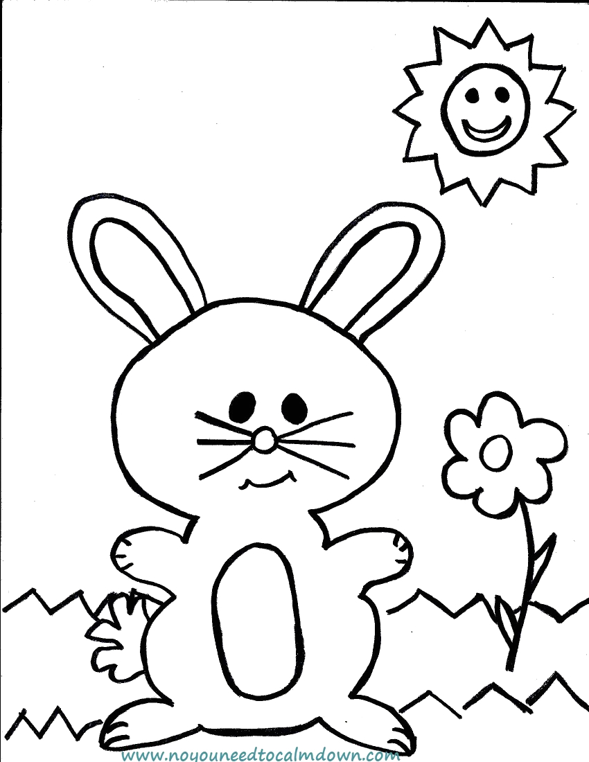 easter bunny coloring page kids free printable