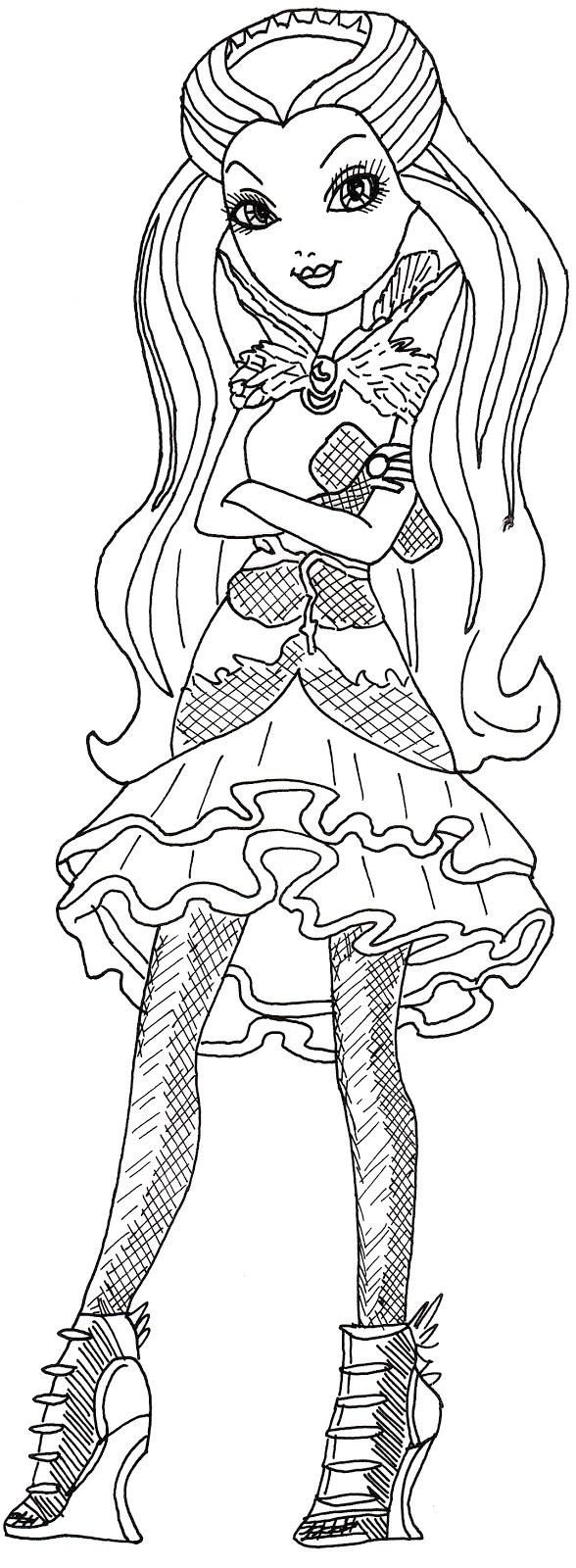Ever after High Coloring Pages Raven Queen All About Ever after High Dolls Raven Queen Coloring Page