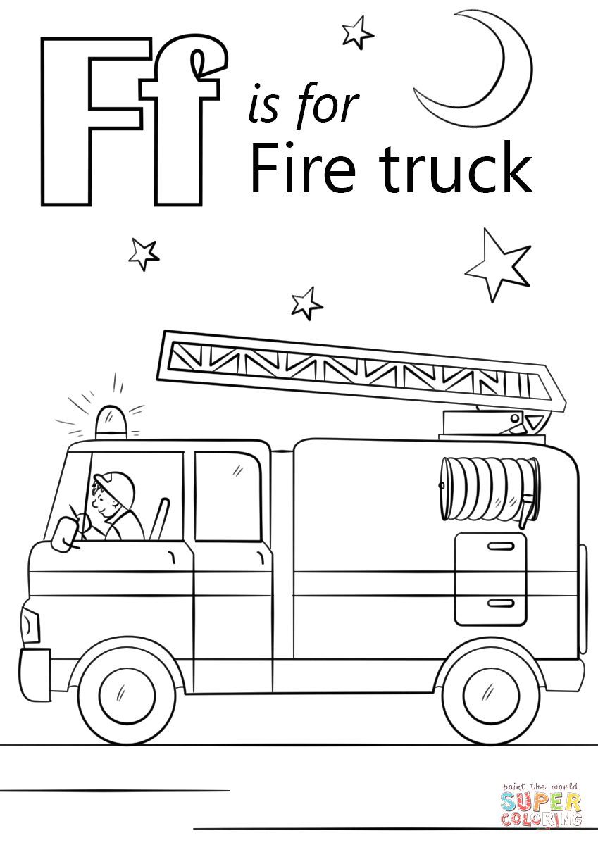 F is for Fire Truck Coloring Page Letter F is for Fire Truck Coloring Page
