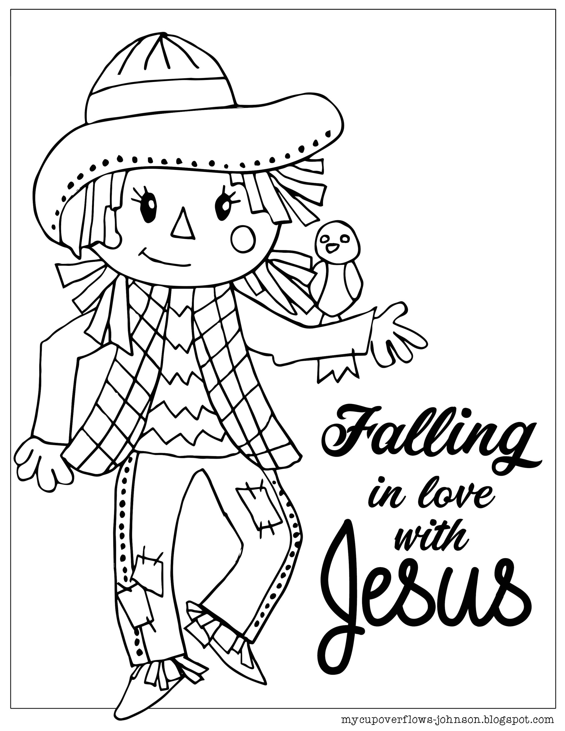 Fall In Love with Jesus Coloring Page Coloring Pages for Fall