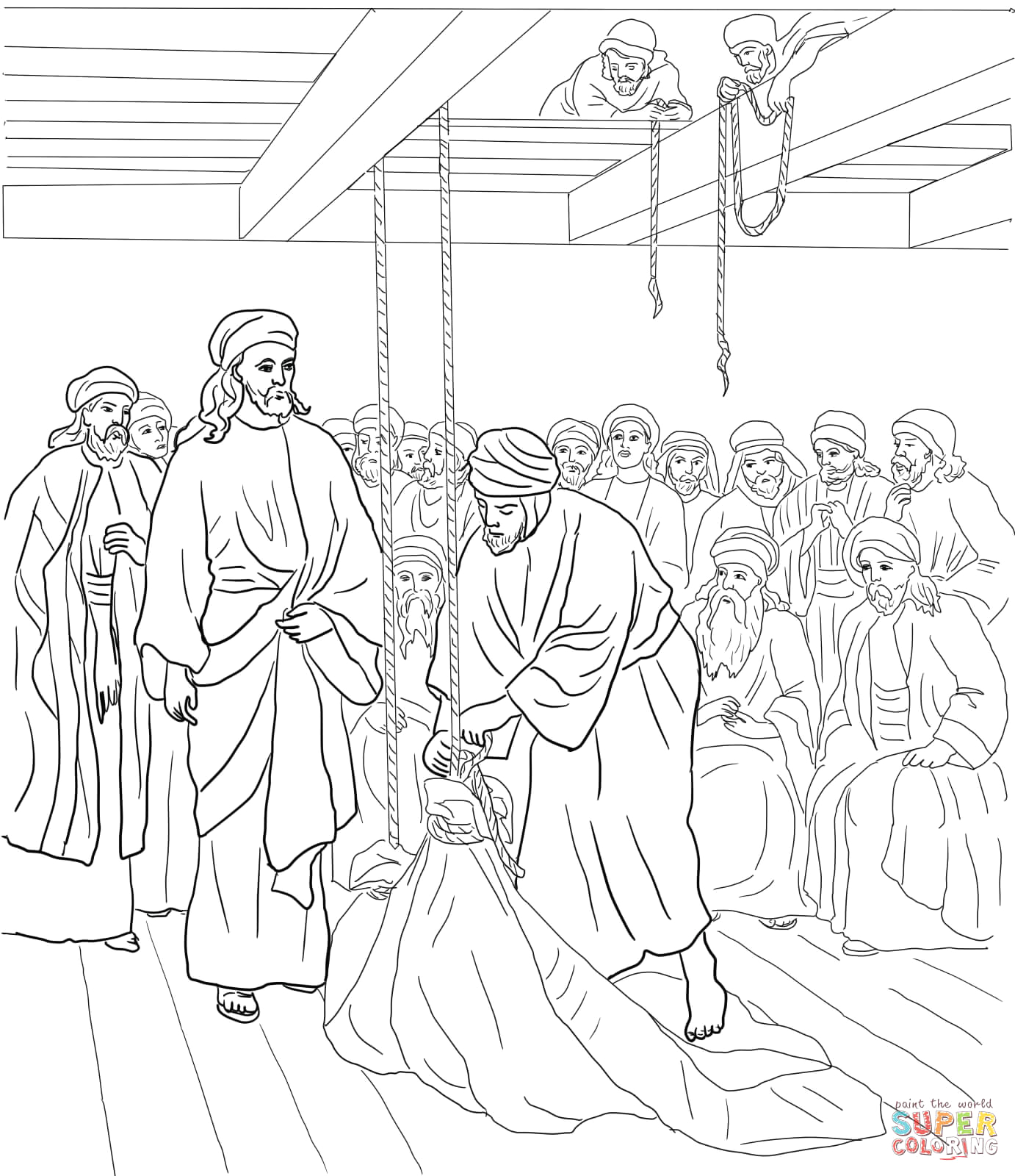 Free Coloring Page Jesus Heals the Paralyzed Man Jesus Heals the Paralyzed Man Coloring Page