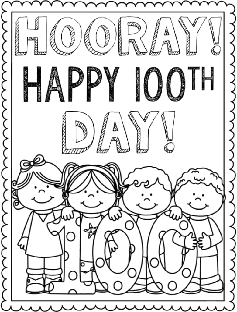 Free Coloring Pages for 100th Day Of School Free Printable 100 Days School Coloring Pages
