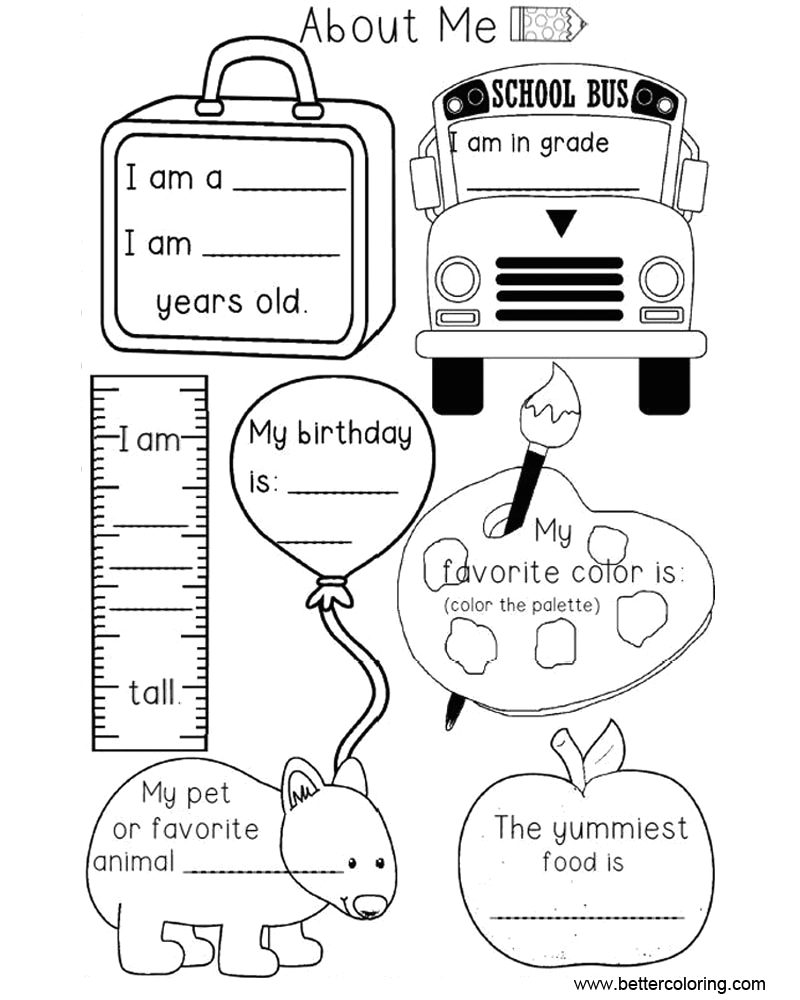 preschool all about me coloring pages worksheets