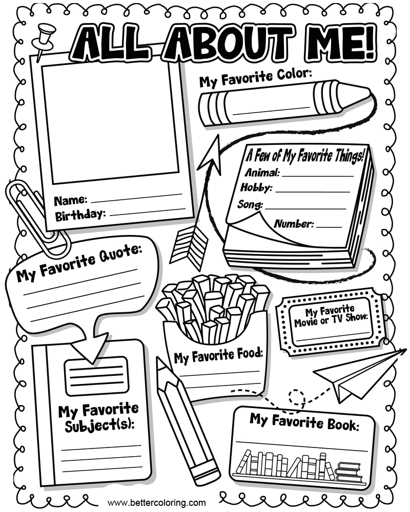 read all about me coloring pages worksheets