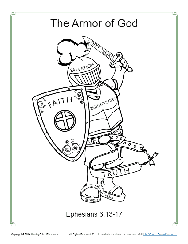 the armor of god coloring page
