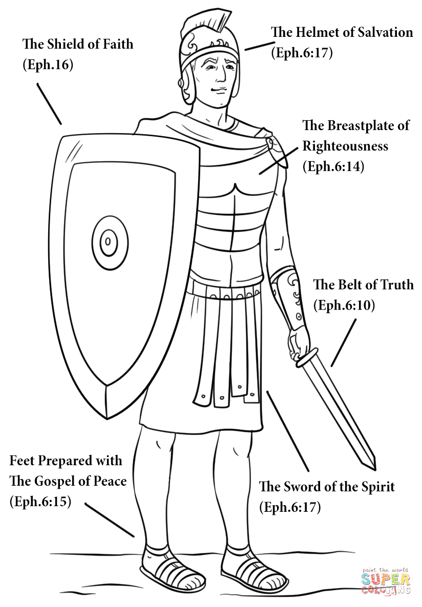 Free Printable Armor Of God Coloring Pages Armour Of God Coloring Page