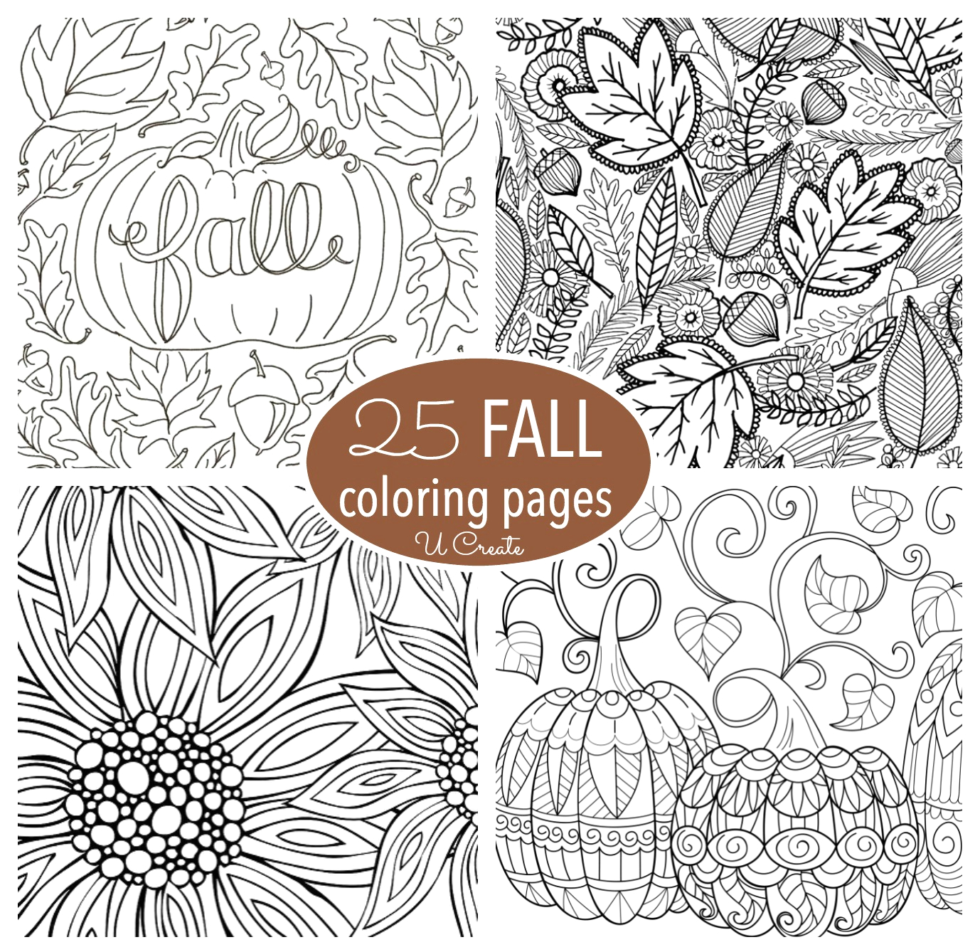 Free Printable Autumn Coloring Pages for Adults Free Fall Adult Coloring Pages U Create