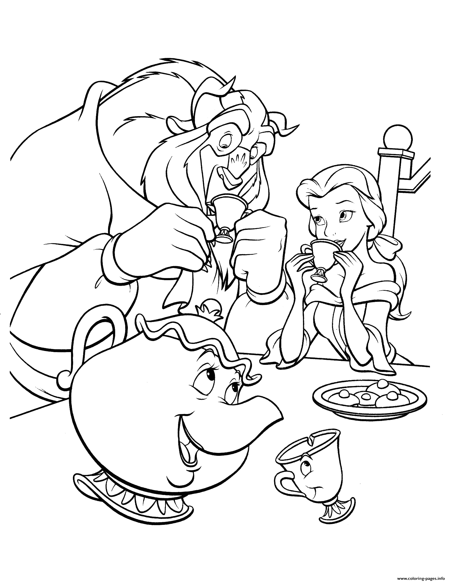 beauty and beast drink coffee printable coloring pages book