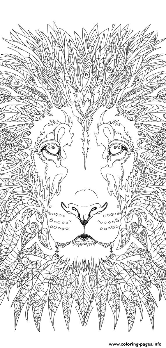 advanced lion adult printable coloring pages book