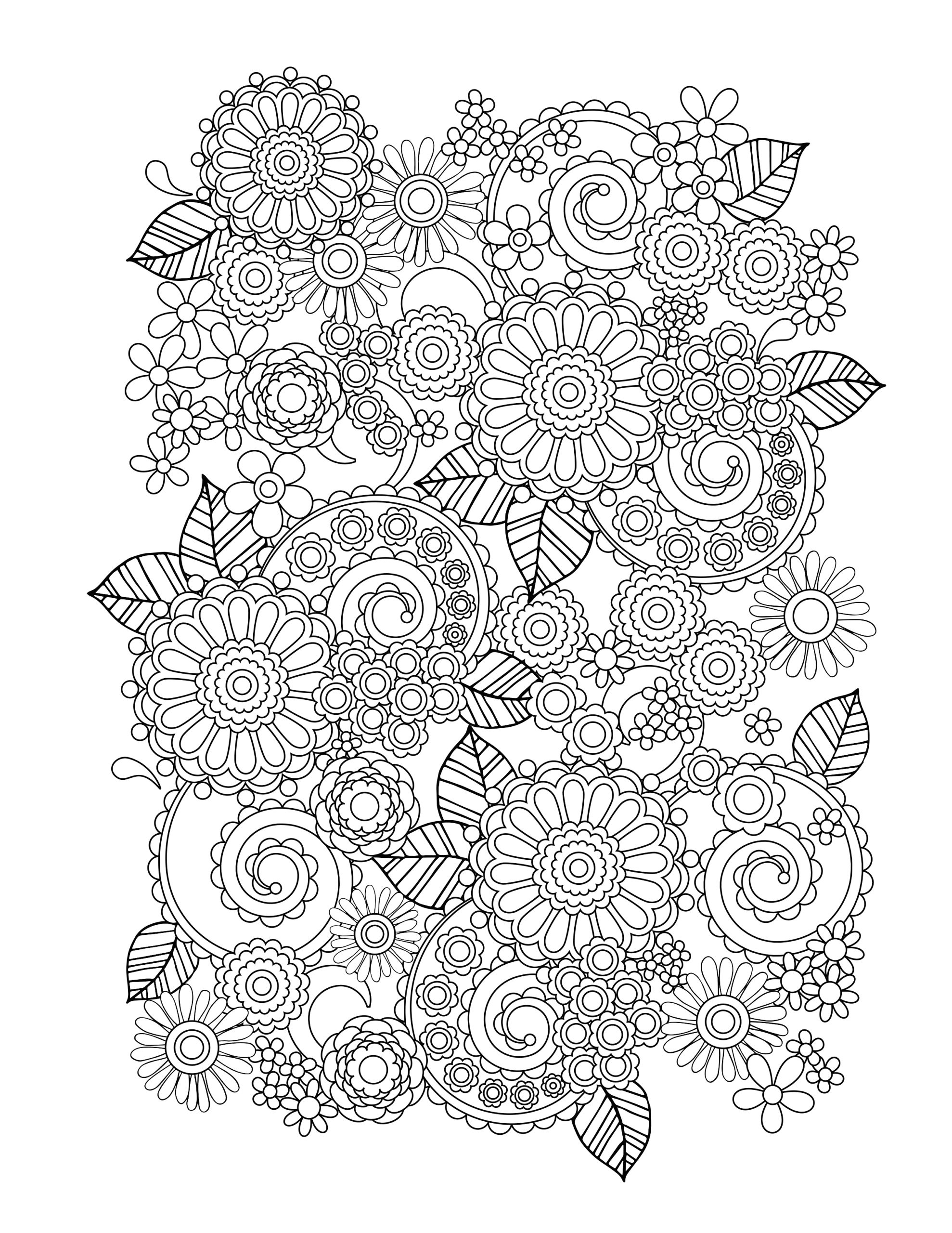 Free Printable Coloring Pages for Adults Flowers Flower Coloring Pages for Adults Best Coloring Pages for