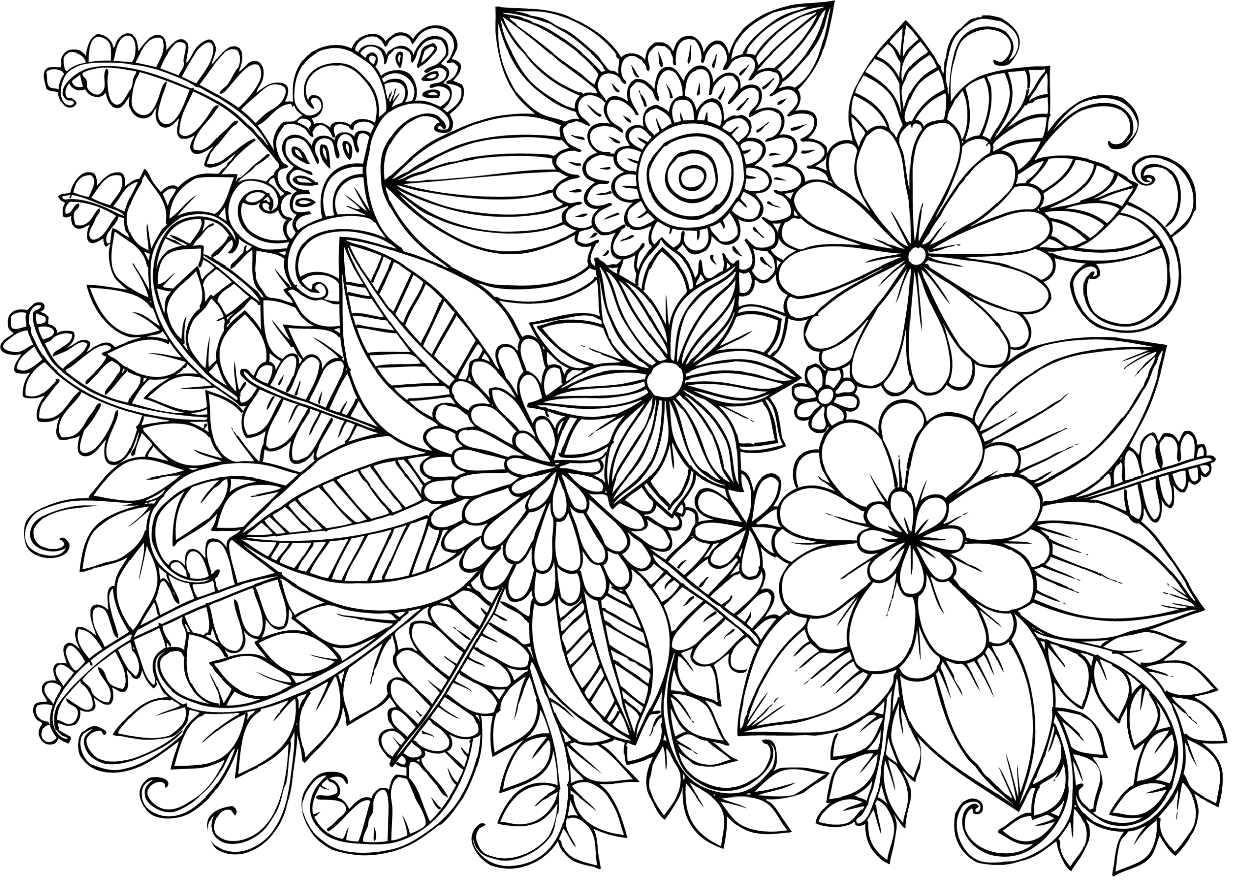 very detailed flowers coloring pages for adults hard to color all flowers