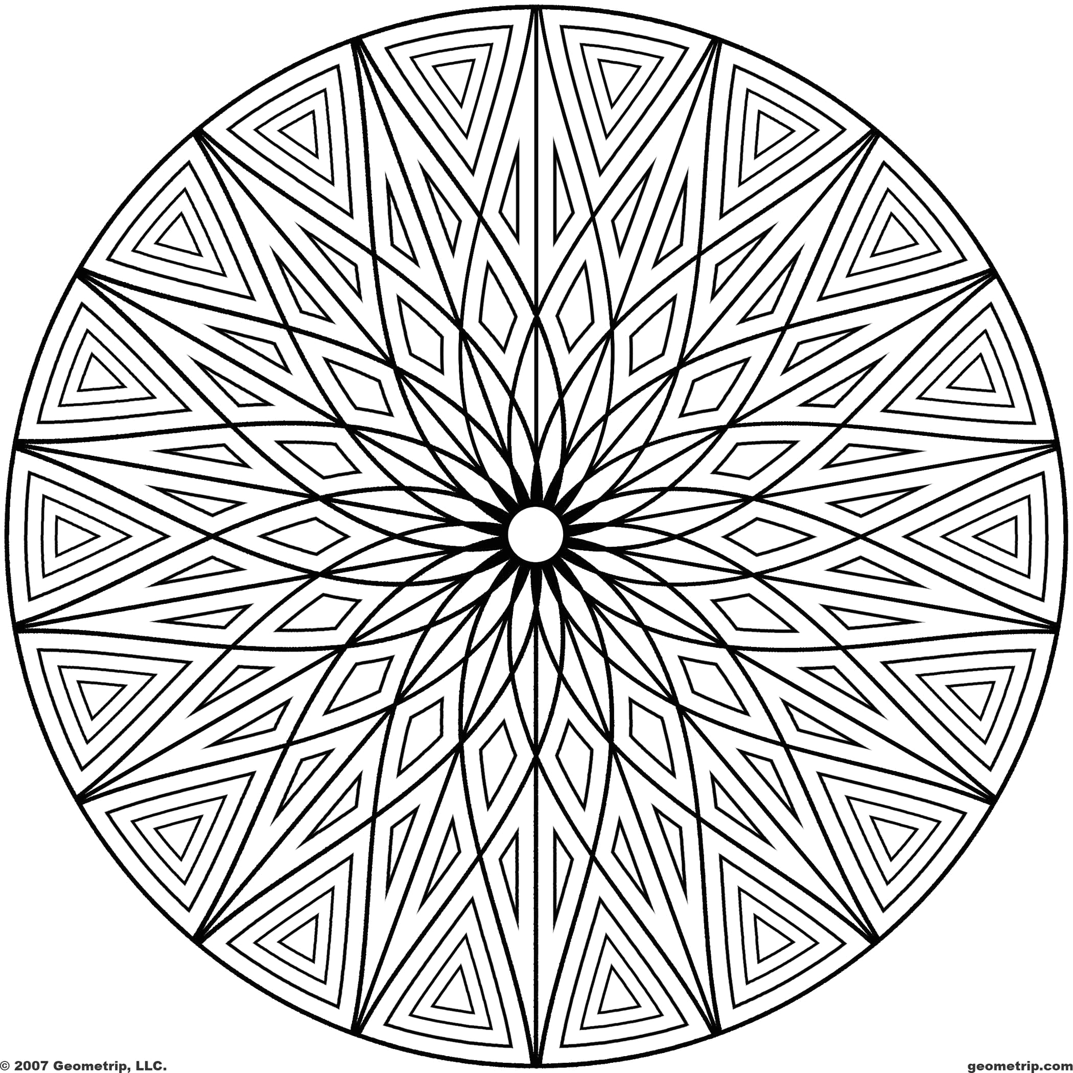 black and white geometric coloring page