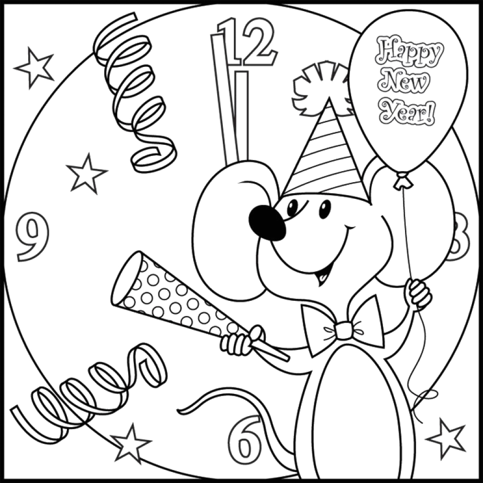 new years coloring pages free for kids
