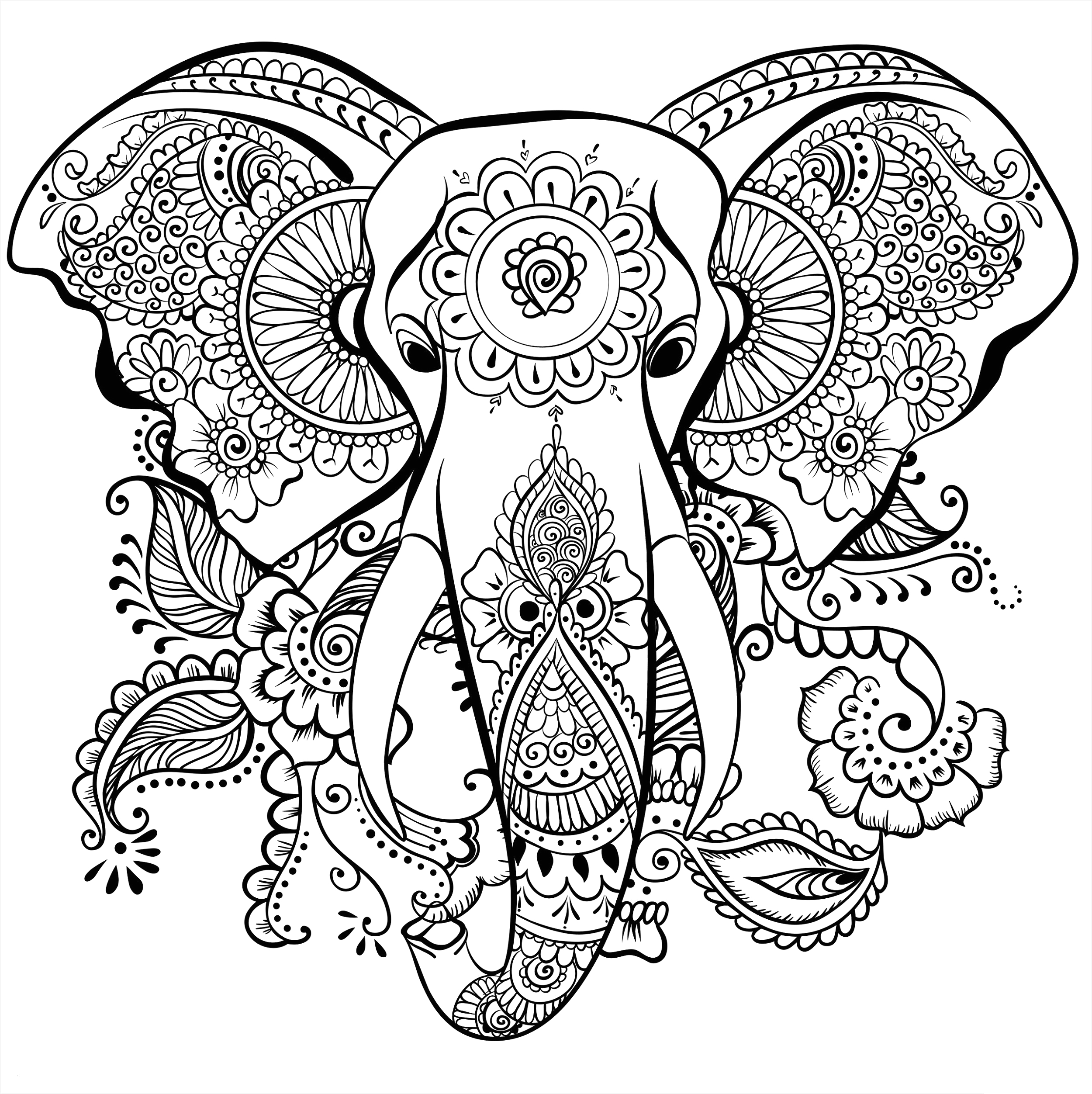 Free Printable Elephant Coloring Pages for Adults Adult Coloring Pages Elephant Free