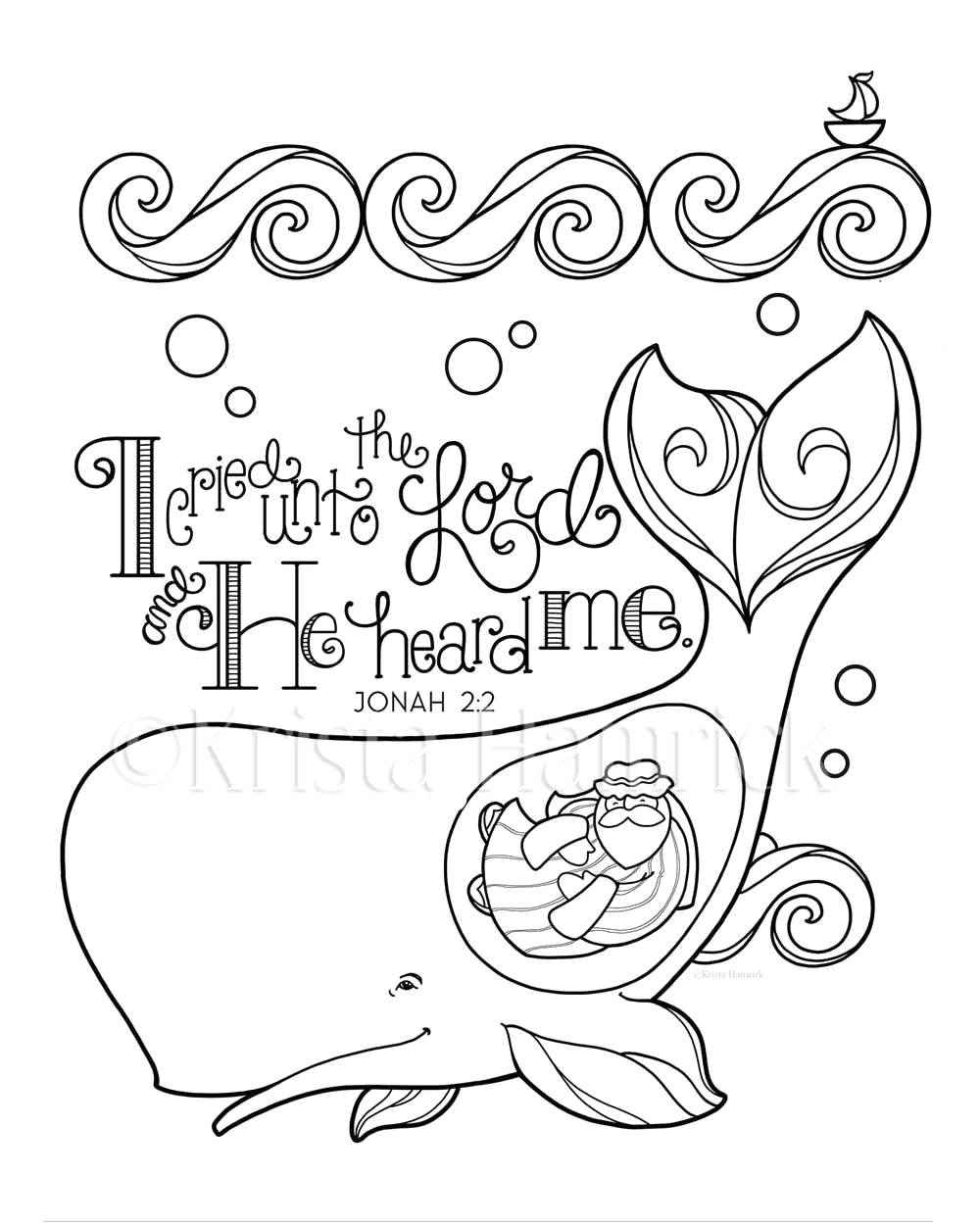 9 jonah and the whale coloring page