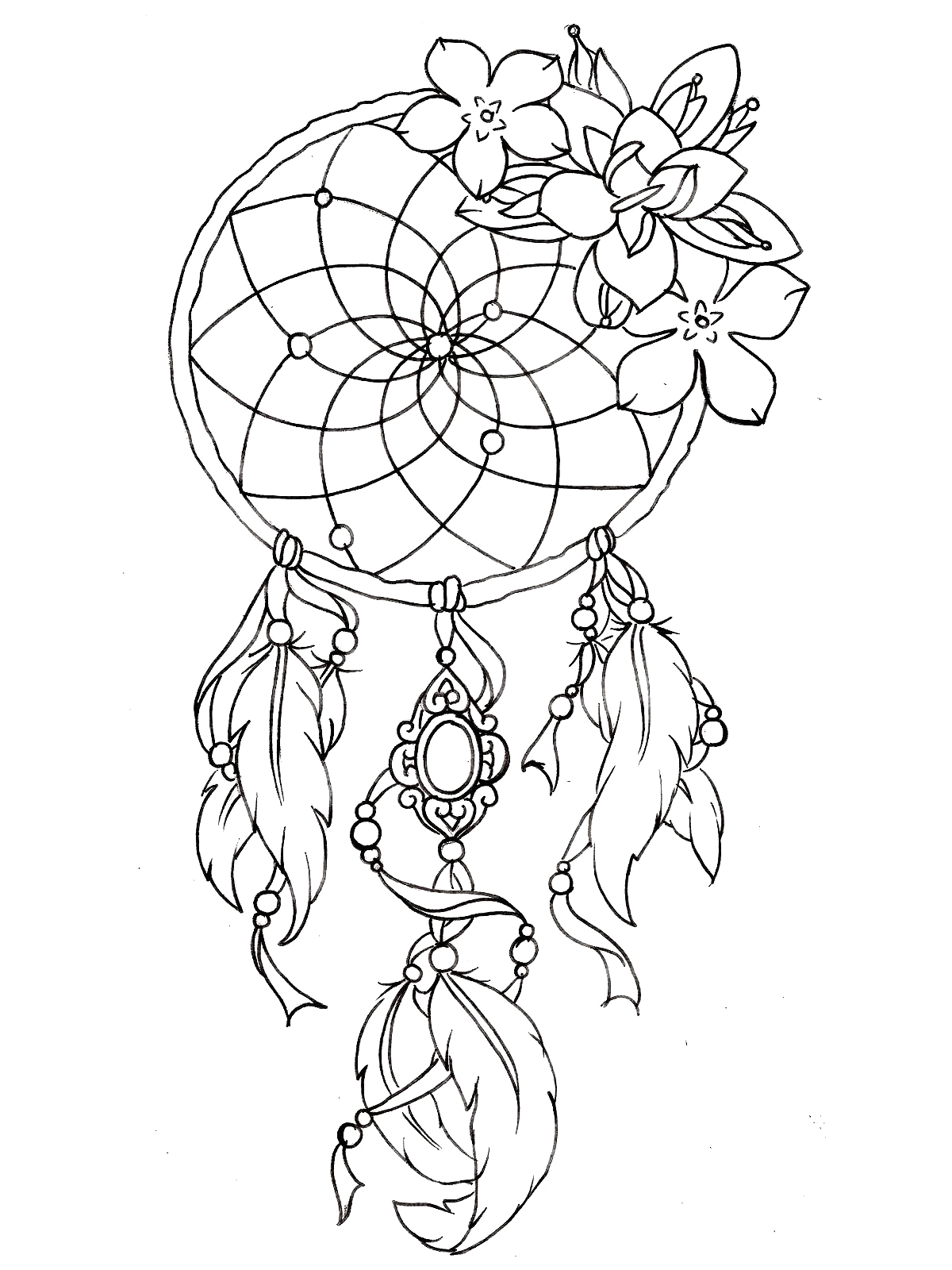Free Printable Tattoo Coloring Pages for Adults Dreamcatcher Tattoo Designs Tattoos Adult Coloring Pages