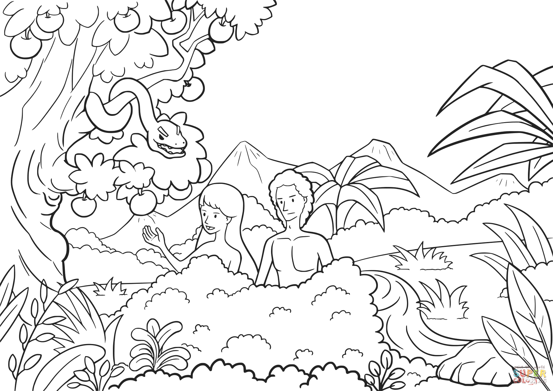 Garden Of Eden Coloring Pages Free Printable Garden Eden Coloring Pages at Getcolorings