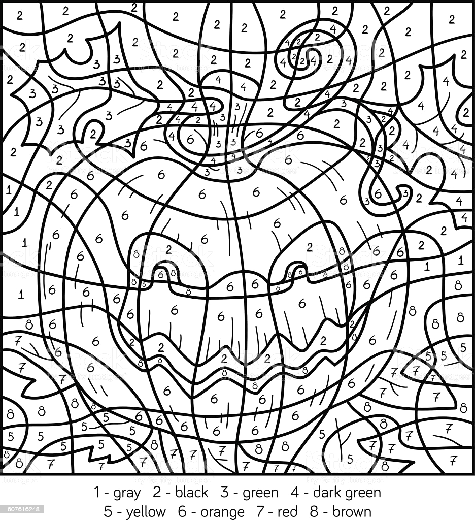 Halloween Color by Number Pages to Print Color by Number Halloween Pumpkin Stock Illustration