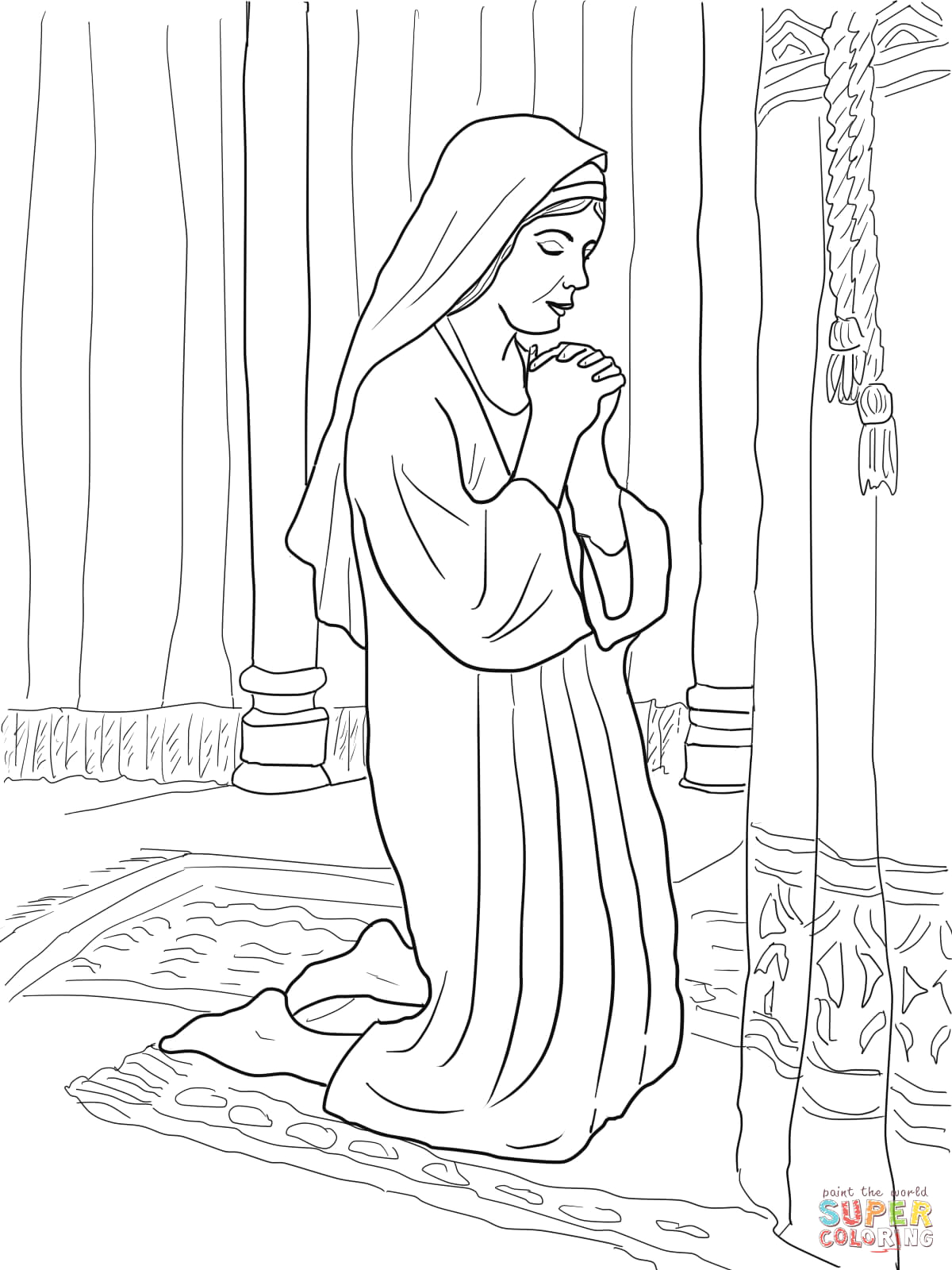 Hannah Prays for A Child Coloring Page Hannah Prays for A son Coloring Page