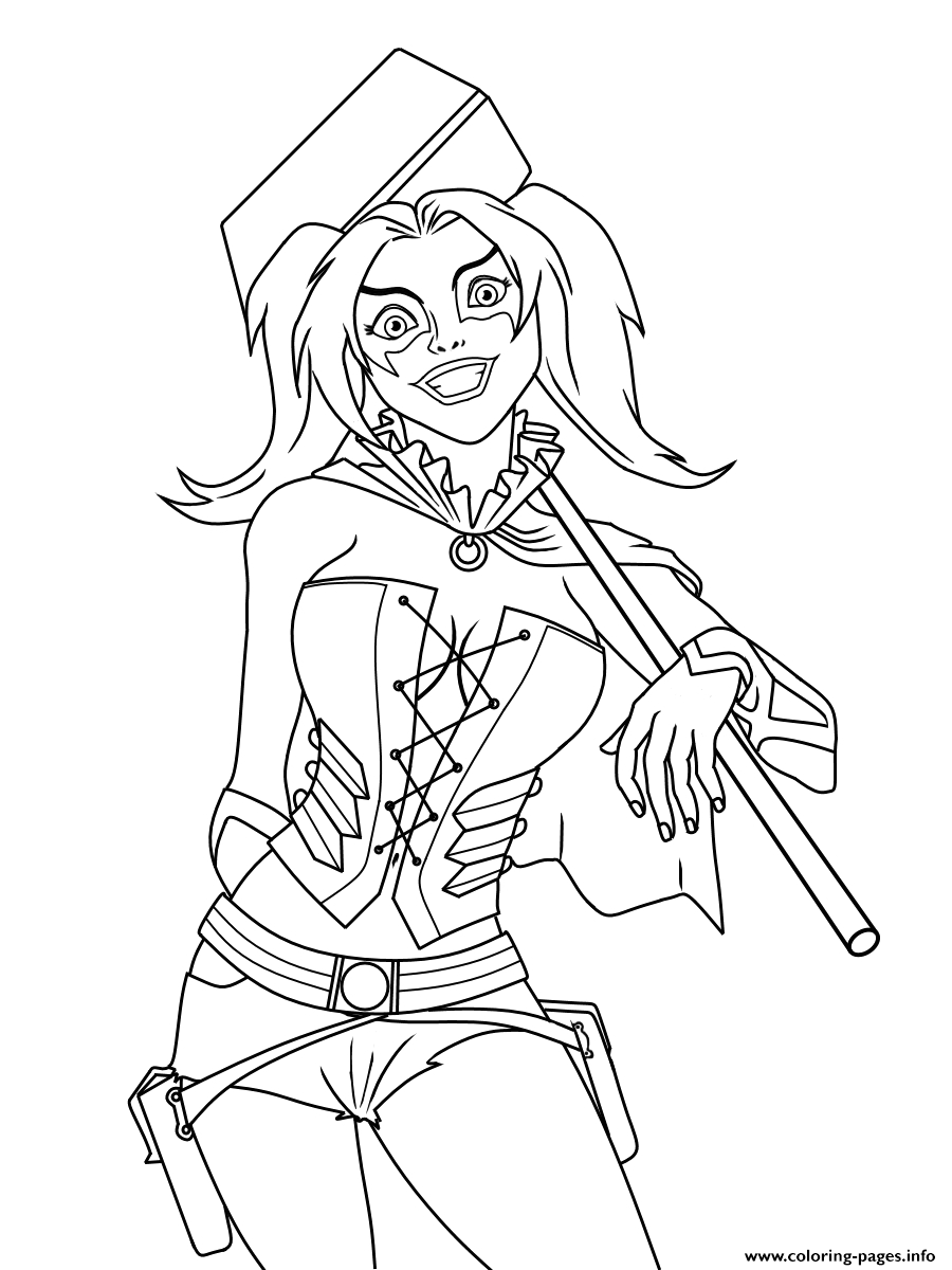 harley quinn dc ics printable coloring pages book
