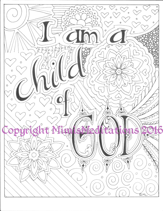 coloring page i am a child of god