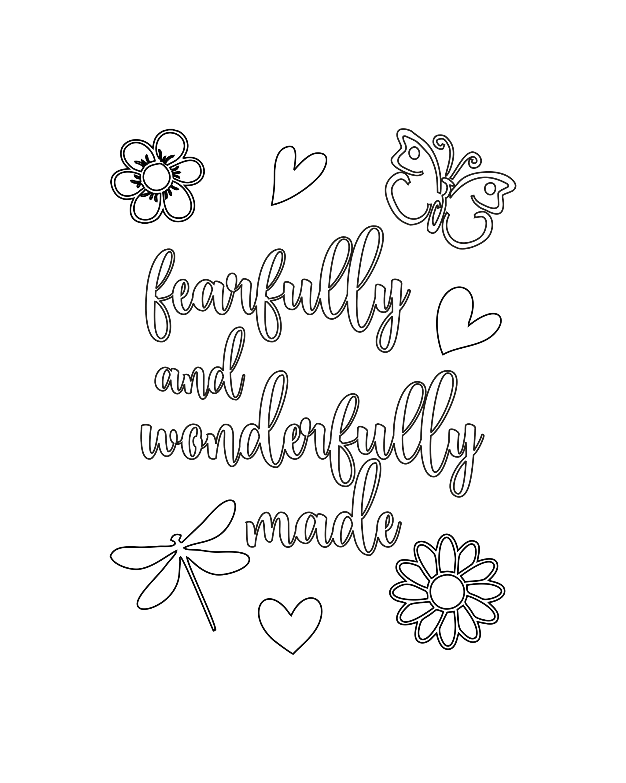 I Am Fearfully and Wonderfully Made Coloring Page Free Fearfully and Wonderfully Made Coloring Page