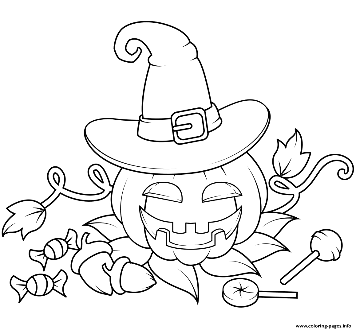 jack o lantern in a witch hat with can s halloween printable coloring pages book