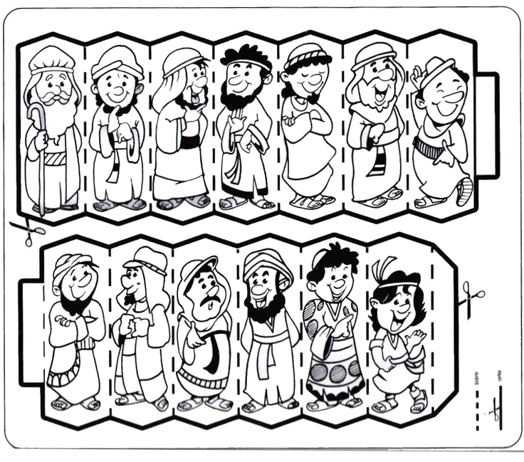 Jacob and His 12 sons Coloring Page Jacob and His 12 sons