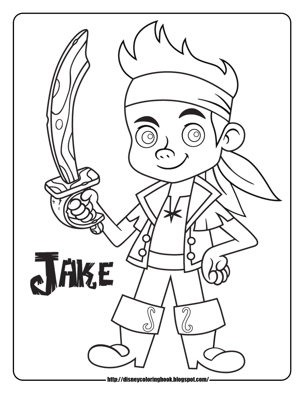 Jake and the Neverland Pirates Coloring Pages to Print Jake and the Neverland Pirates 1 Free Disney Coloring