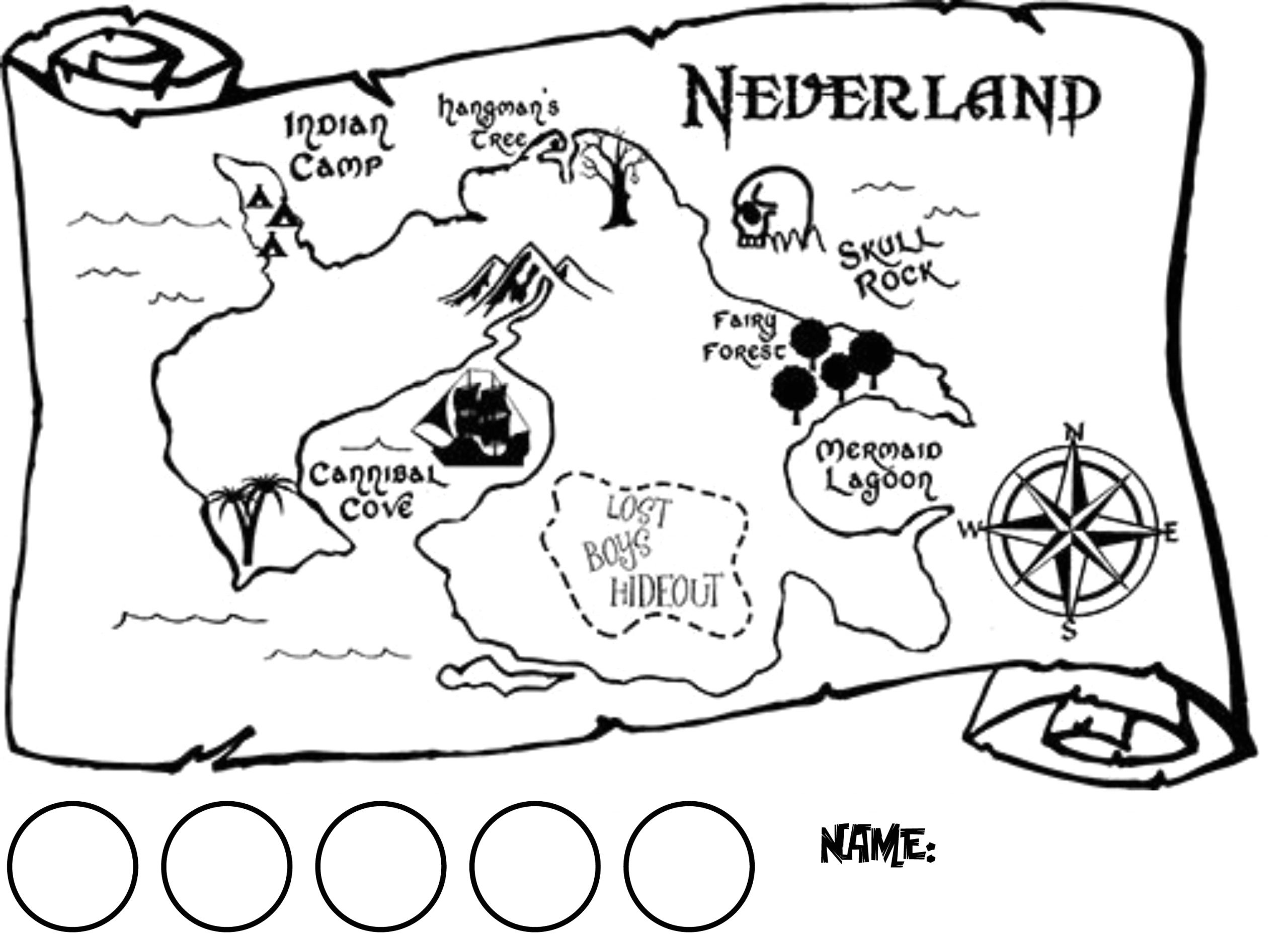 Jake and the Neverland Pirates Treasure Map Coloring Page Horizontal Map Of Neverland with Circles for Collecting 1