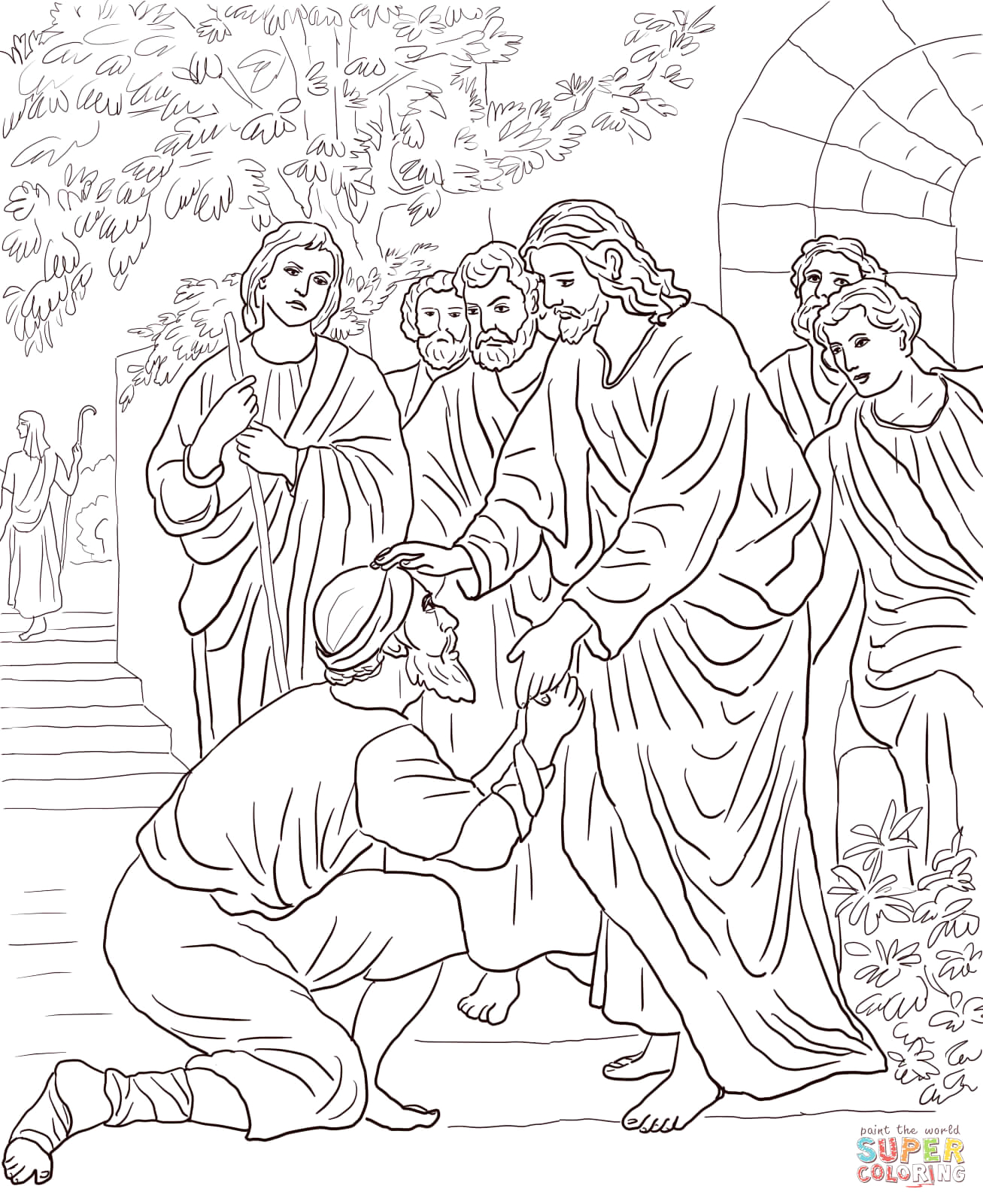 Jesus Heals the Man with Leprosy Coloring Pages Jesus Heals the Leper Coloring Page