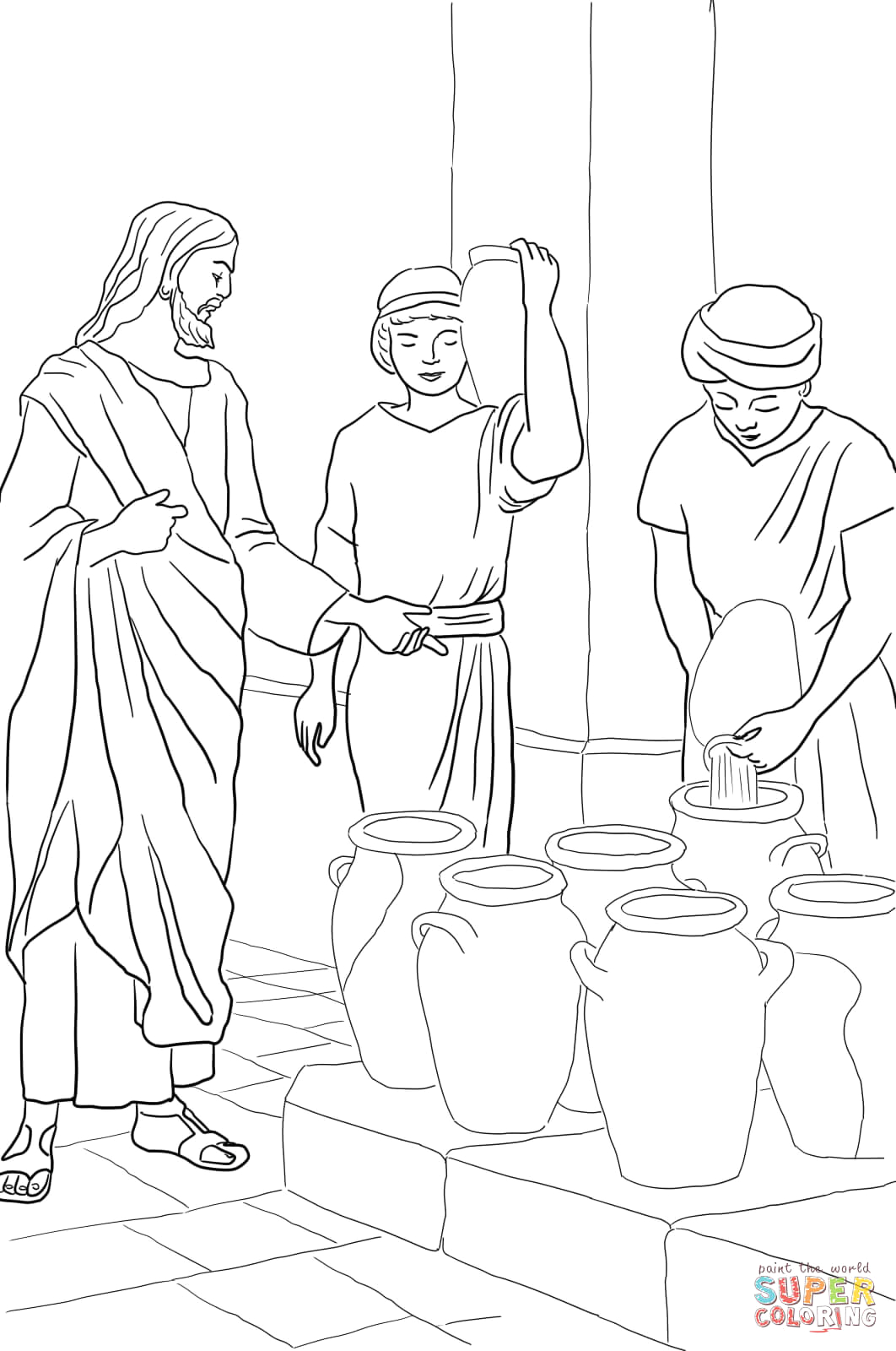 Jesus Turns Water Into Wine Coloring Page Jesus Turns Water Into Wine Coloring Page Coloring Home
