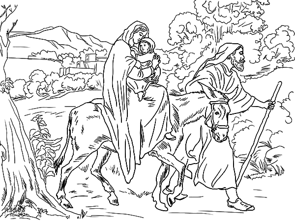joseph pulling mary on the donkey flight into egypt coloring pages