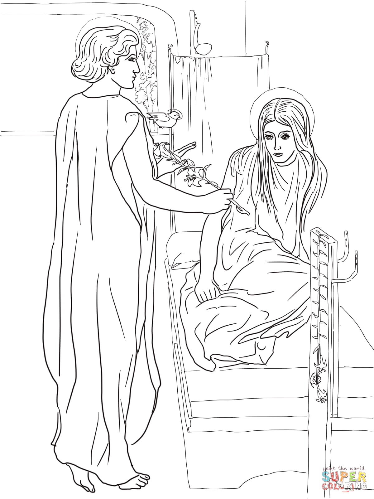 coloring pages mary and angel