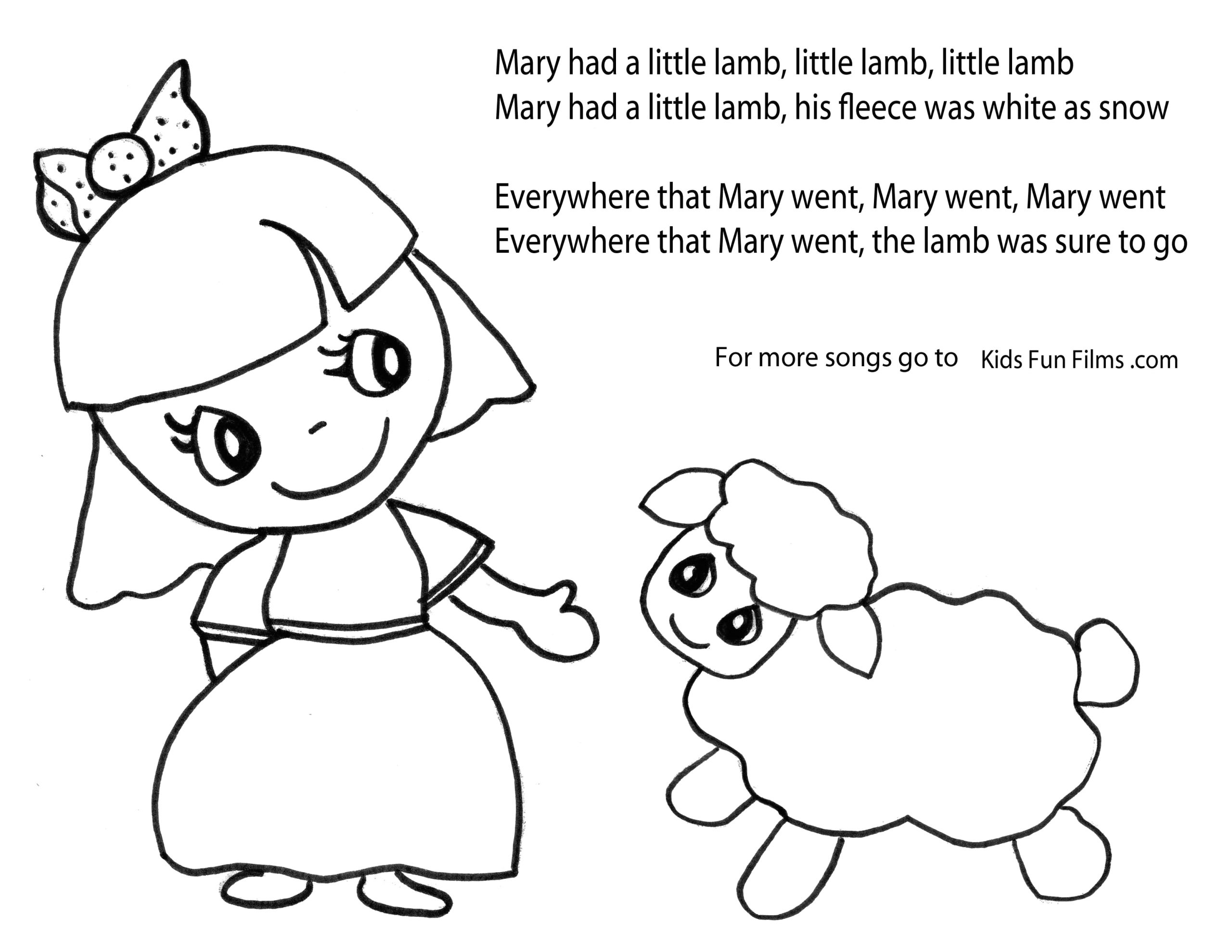 Mary Had A Little Lamb Printable Coloring Pages Mary Had A Little Lamb Coloring Pages with Images