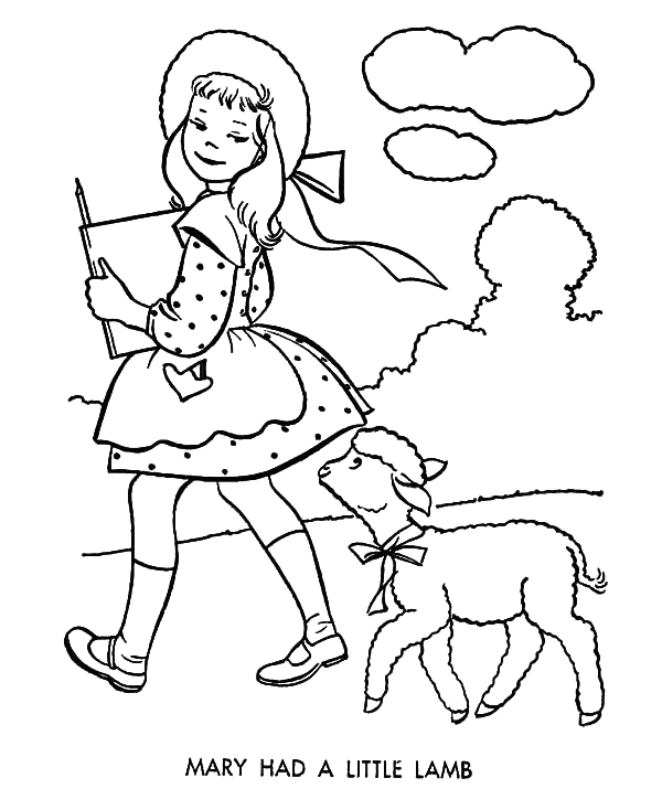 mary had a little lamb who following her wherever she goes coloring pages