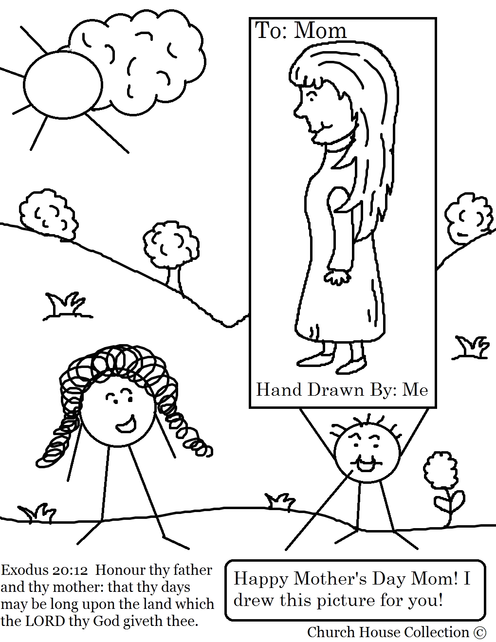 mothers day coloring page for sunday