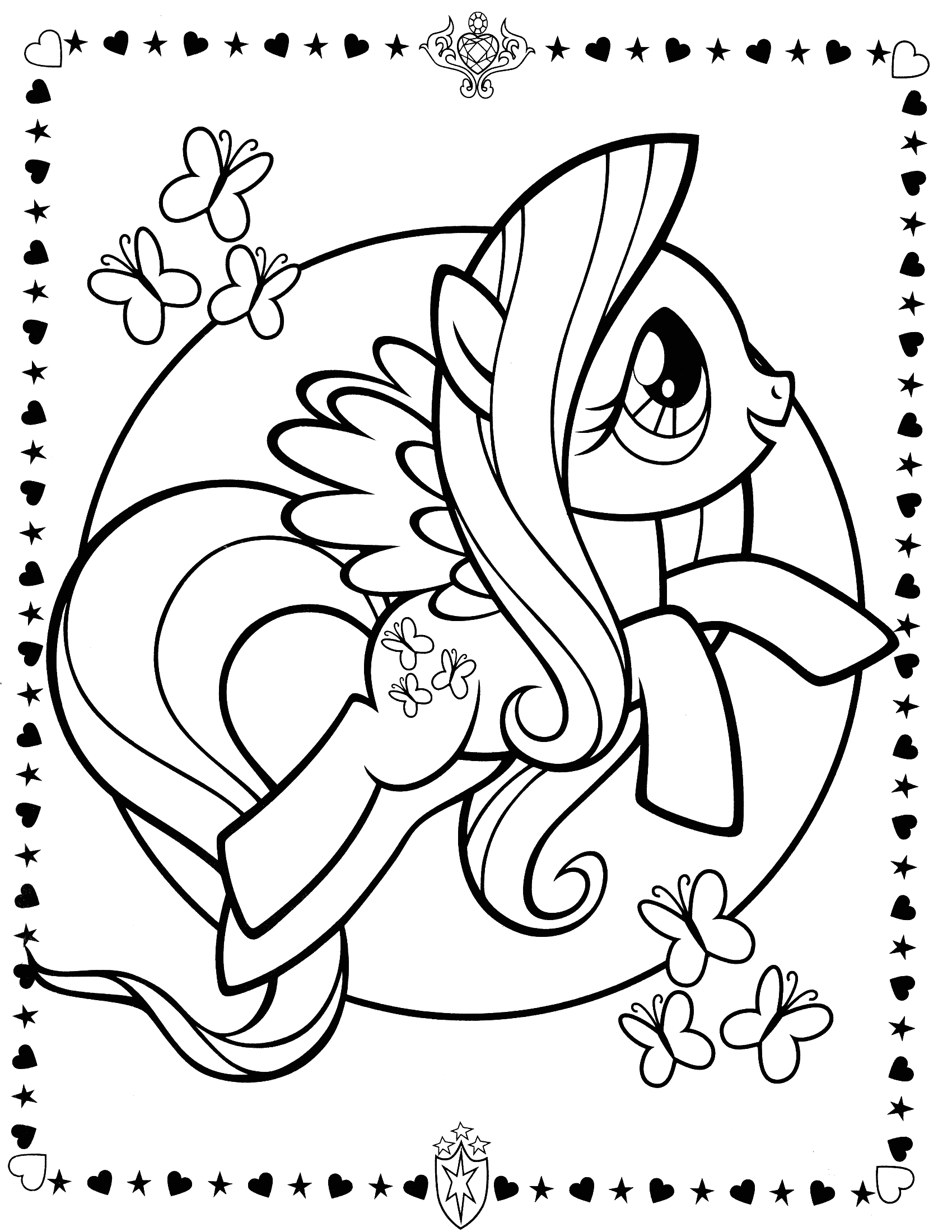 little pony colouring sheets fluttershy photo
