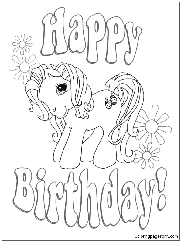 My Little Pony Happy Birthday Coloring Page Happy Birthday My Little Pony Coloring Page Free