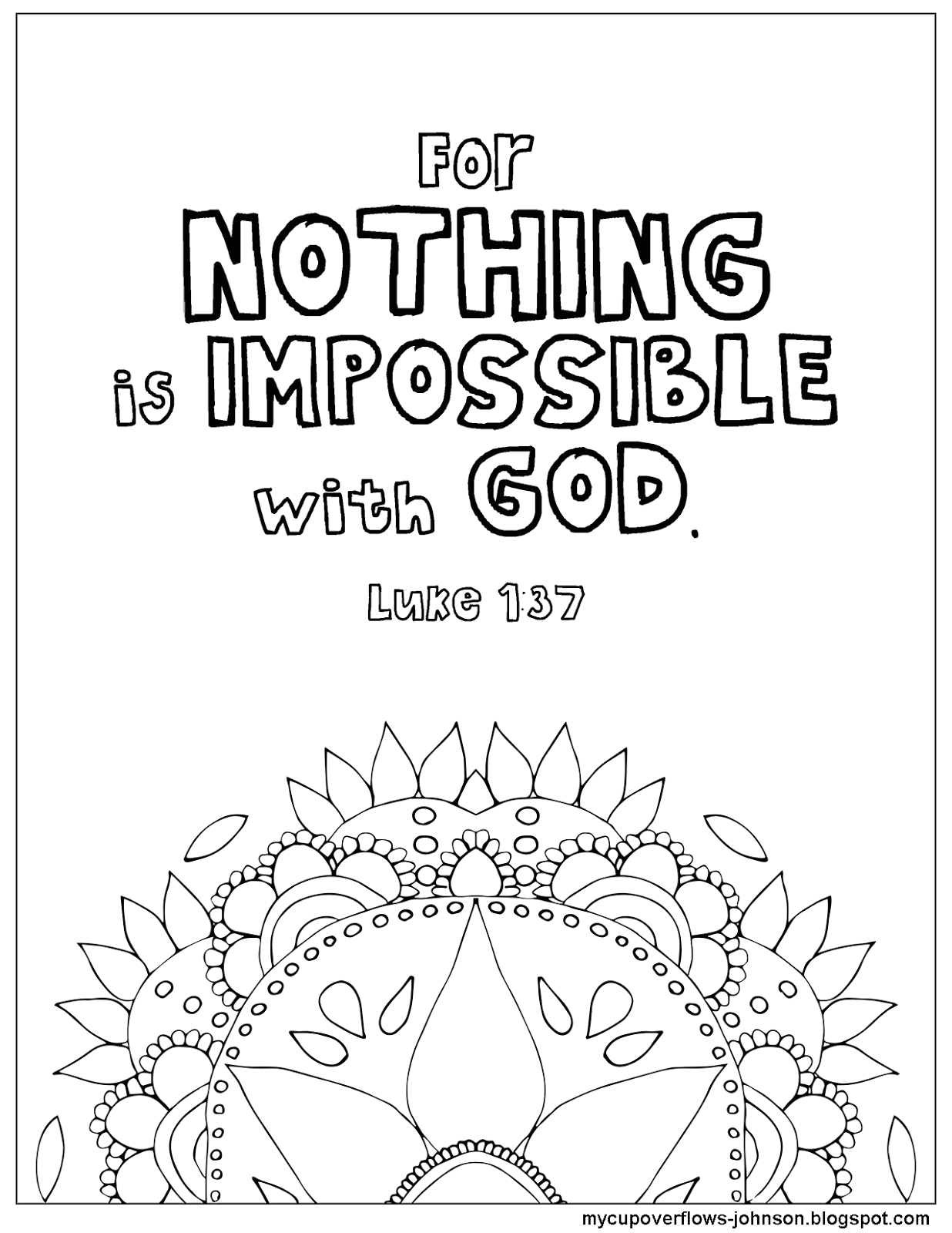Nothing is Impossible with God Coloring Pages My Cup Overflows Nothing is Impossible with God