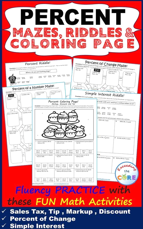 Percent Coloring Page Markup Discount and Tax Percents Mazes Riddles & Color by Number Coloring Page