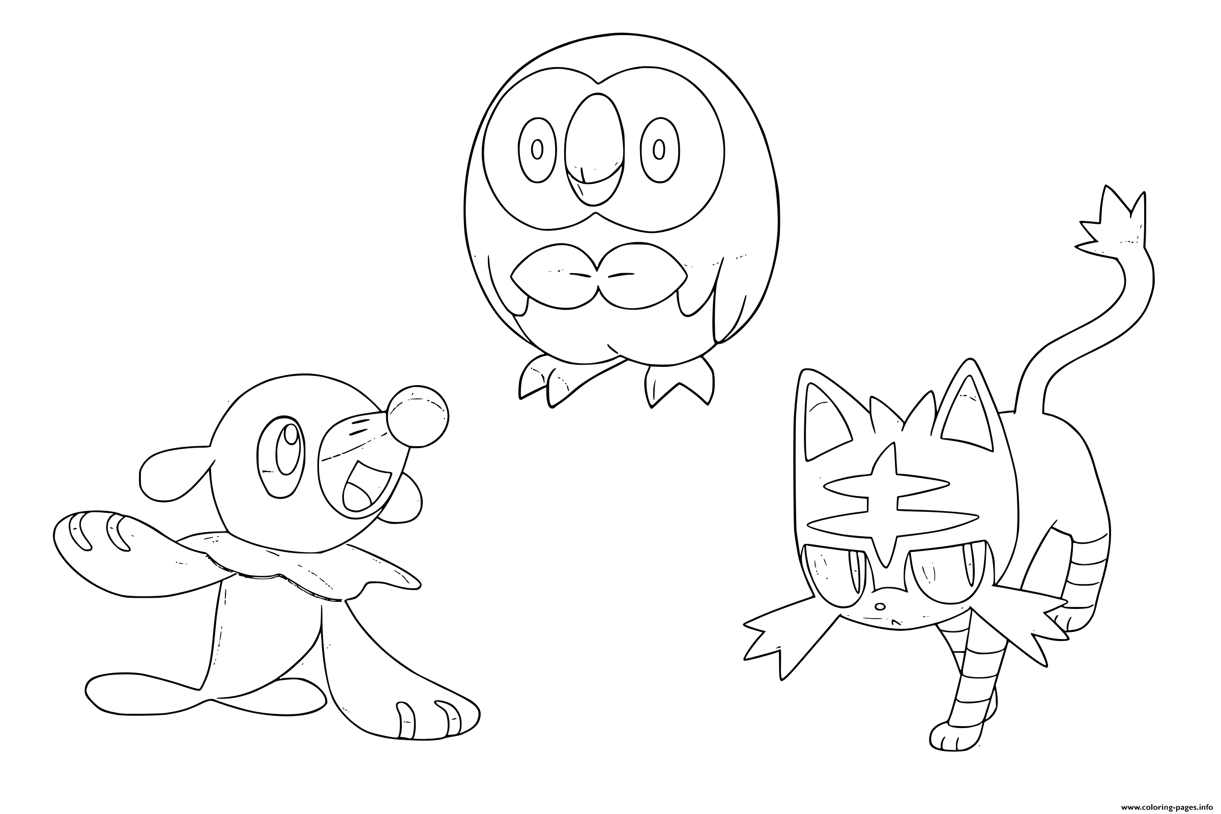 Pokemon Coloring Pages Sun and Moon Starters Pokemon Sun Moon Starters Coloring Pages Printable