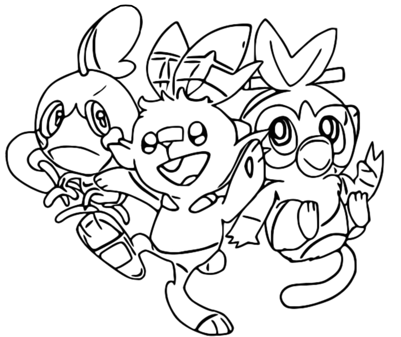 coloring pages id 6838 pokemon sword and shield sobble scorbunny and grookey