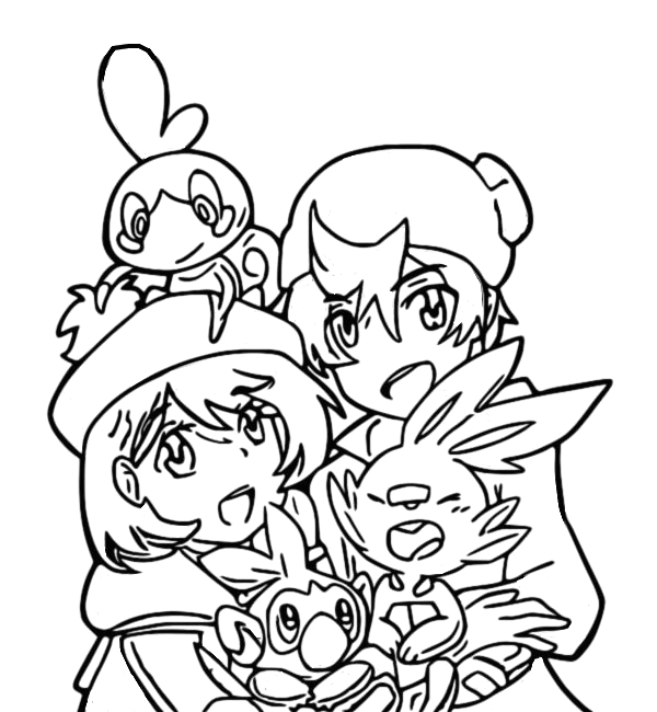coloring pages id 6836 pokemon sword and shield trainers and scobble scorbunny and grookey