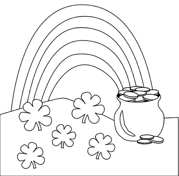 Pot Of Gold with Rainbow Coloring Page A Beautiful Rainbow and A Pot Gold Coloring Page