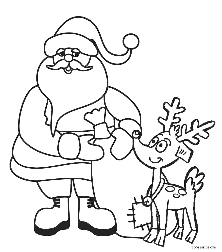 Santa Claus and His Reindeer Coloring Pages Santa and Reindeer Coloring Pages