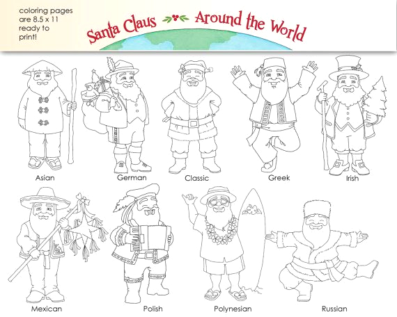 Santa Claus Around the World Coloring Pages Santa Claus Around the World Digital Clip Art Coloring