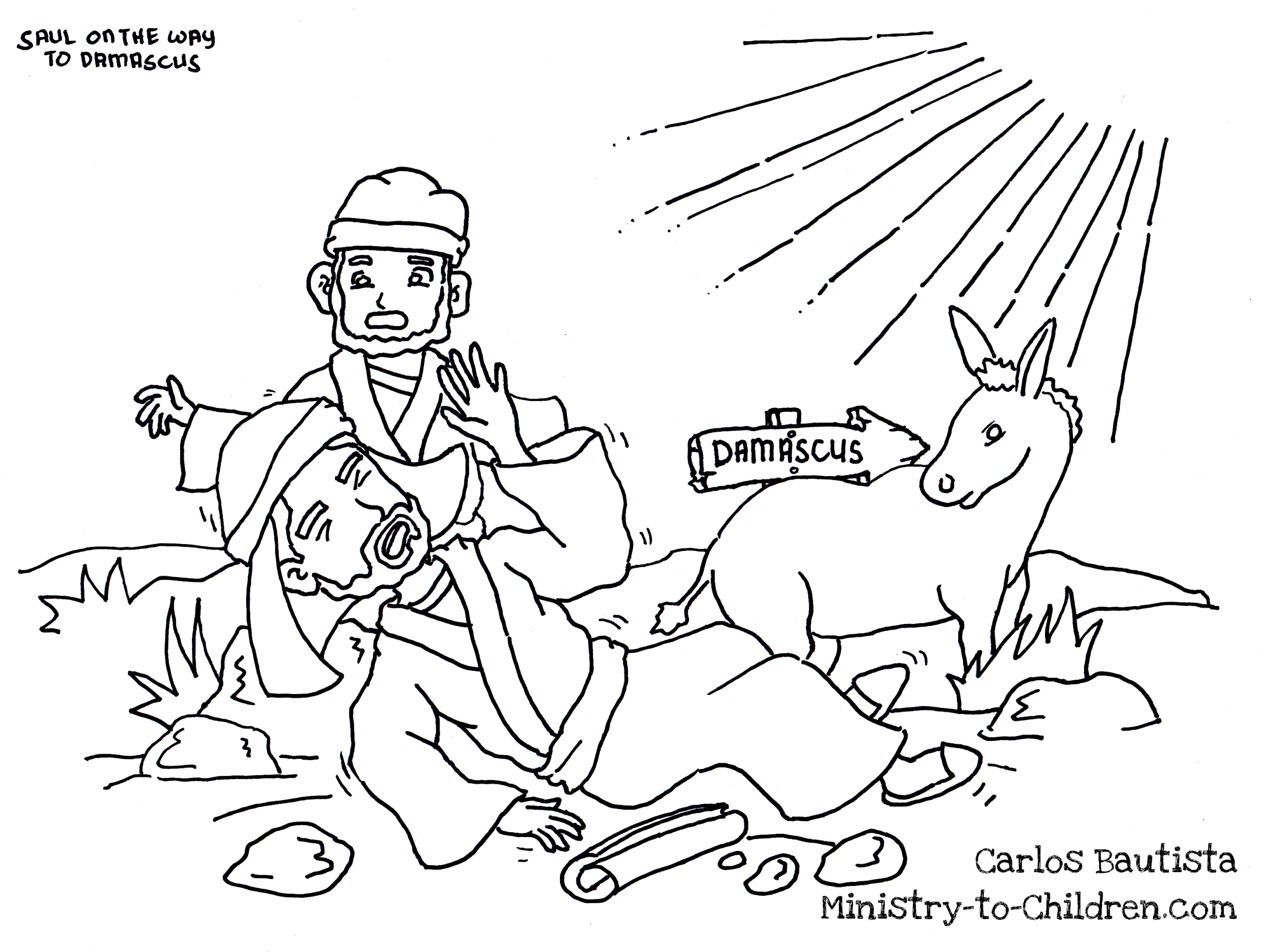 Saul Blinded On the Road to Damascus Coloring Page Saul Blinded On the Road to Damascus Coloring Page – Jawar
